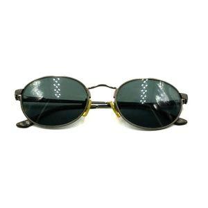 Vintage Brooks Brothers Gray Metal Oval Sunglasses